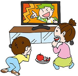 TVを見る子どもたち
