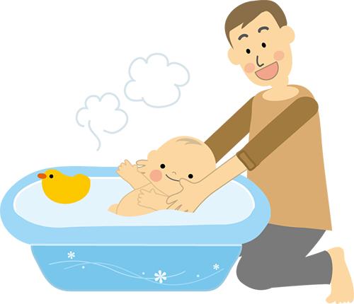 子供をお風呂に入れるパパ