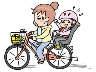 子供を乗せて走るママ