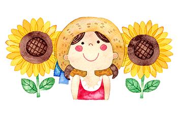 女の子と向日葵